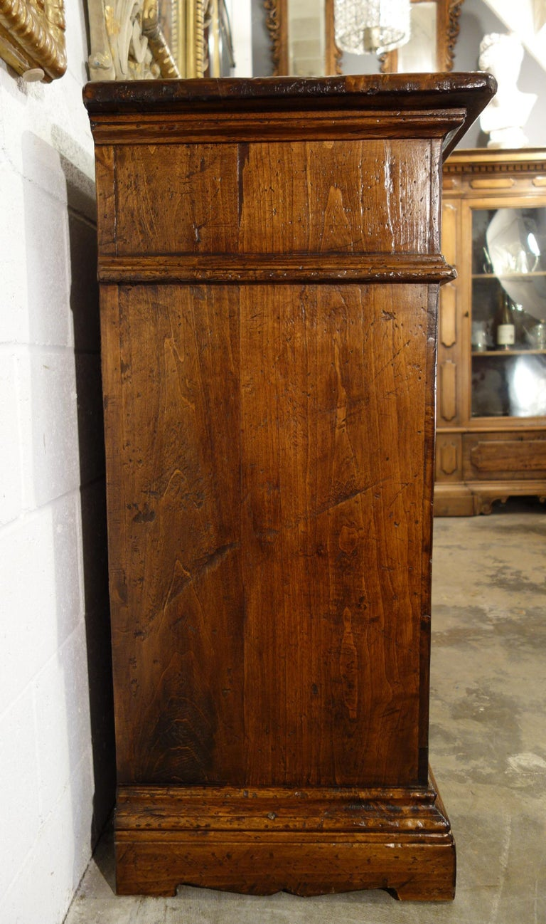 17th Century Style Italian Rustic 2 Door Old Poplar Credenza with 2 Drawers In Excellent Condition For Sale In Encinitas, CA
