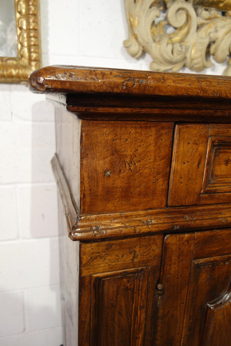Contemporary 17th Century Style Italian Rustic 2 Door Old Poplar Credenza with 2 Drawers For Sale