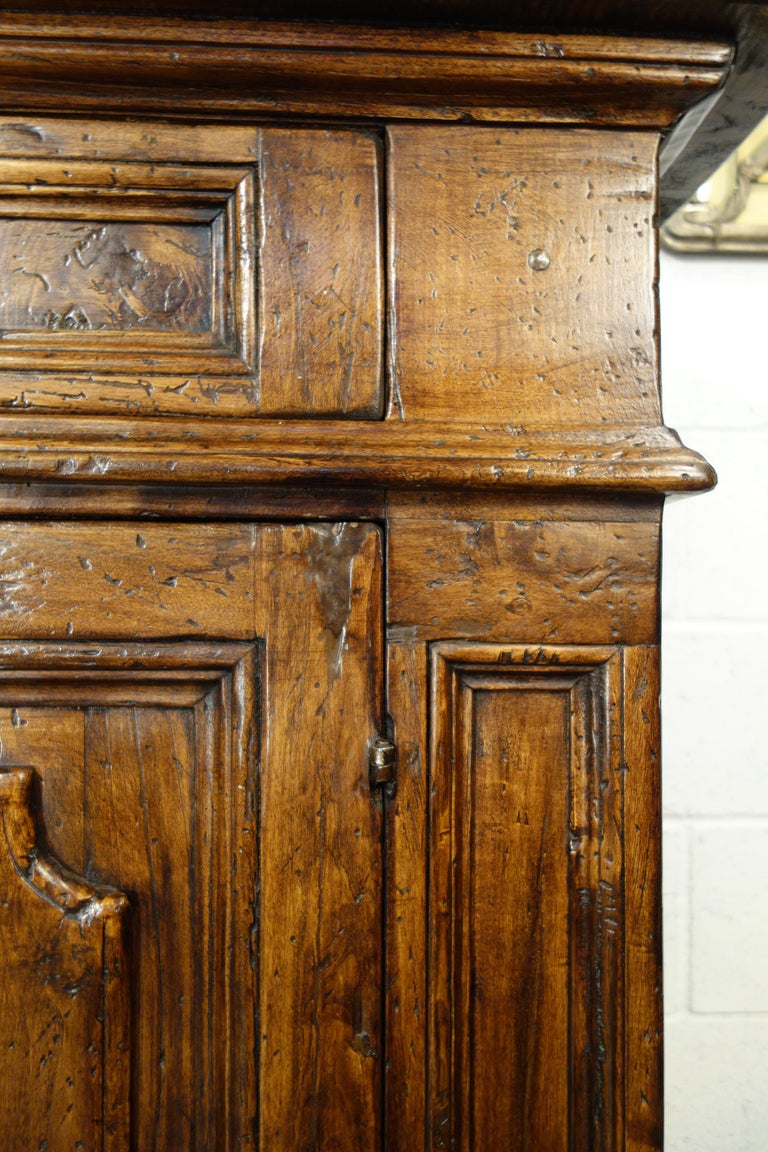 17th Century Style Italian Rustic 2 Door Old Poplar Credenza with 2 Drawers For Sale 1