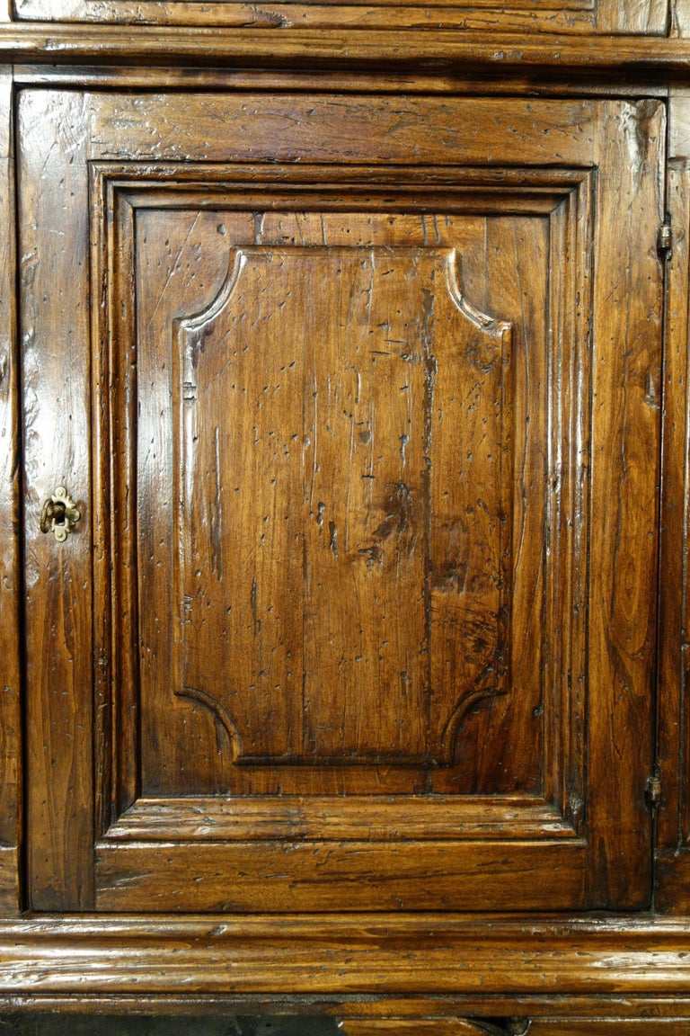 17th Century Style Italian Rustic 2 Door Old Poplar Credenza with 2 Drawers For Sale 2