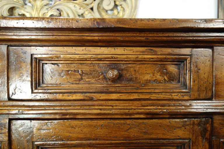 17th Century Style Italian Rustic 2 Door Old Poplar Credenza with 2 Drawers For Sale 3