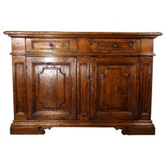 17th Century Style Italian Rustic 2 Door Old Poplar Credenza with 2 Drawers