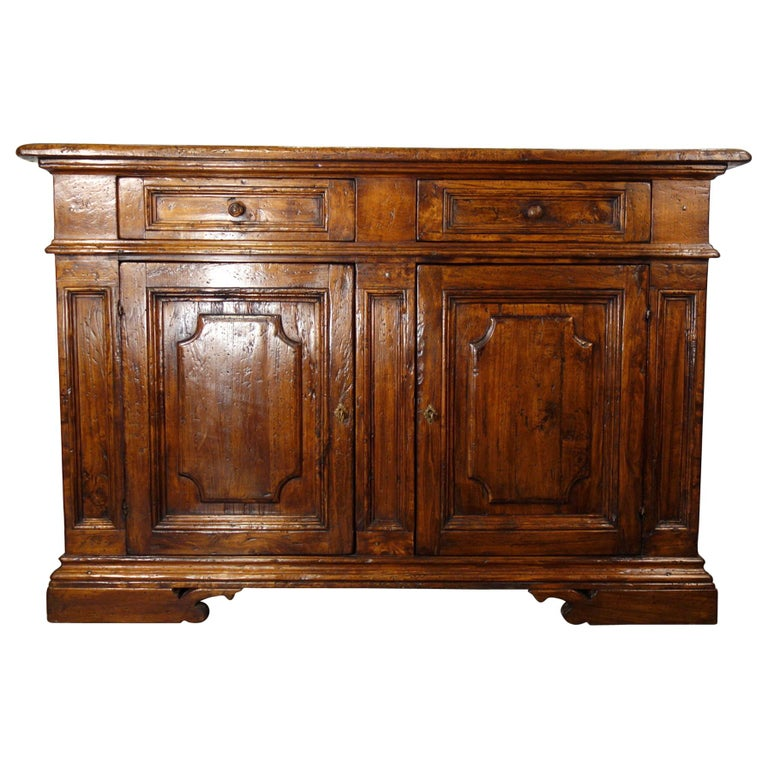 17th Century Style Italian Rustic 2 Door Old Poplar Credenza with 2 Drawers For Sale