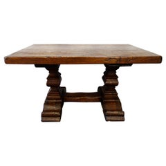 17th Century Style Rustic Italian Baroque 2 Pedestal Table in Old Chestnut