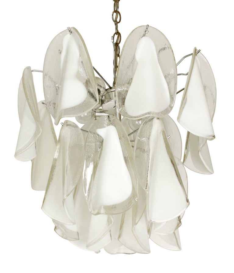 Italian white and clear blown glass petal form chandelier.
