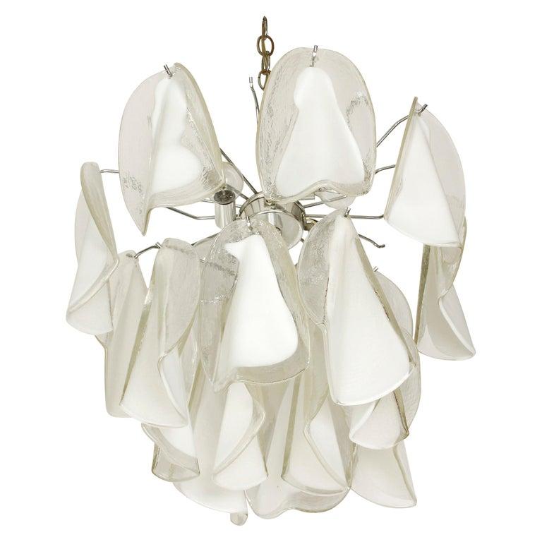 Italian Custom Blown Glass Modern Chandelier For Sale
