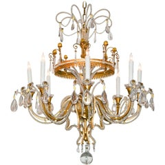 Italian Custom Crafted Crystal and Gold Gilded Chandelier