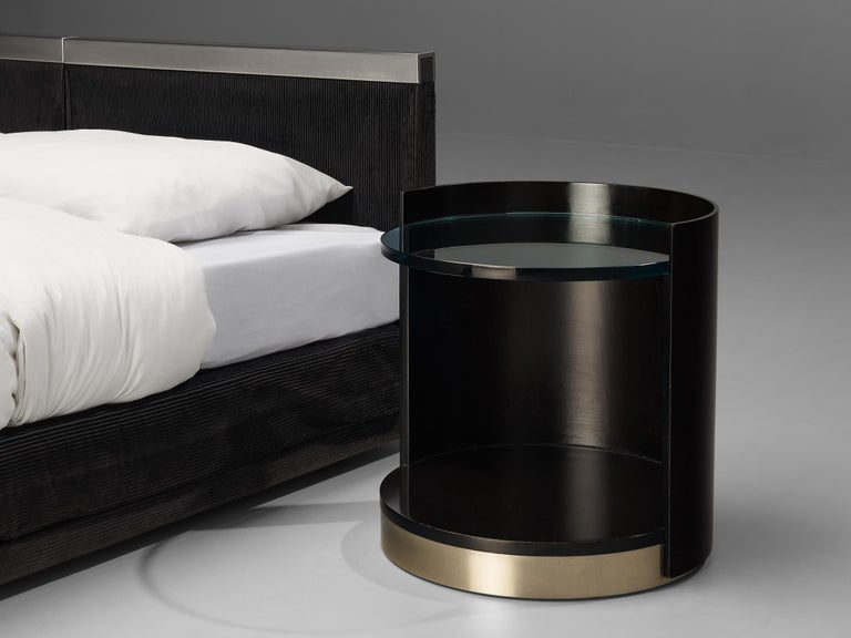 Post-Modern Italian Custom-Made Bed by Bazzani with Gianni Moscatelli Nightstands For Sale
