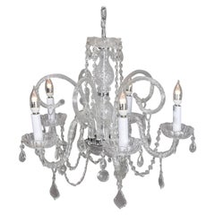 Italian Cut Chrystal and Chrome Scroll Form Chandelier, 20th Century