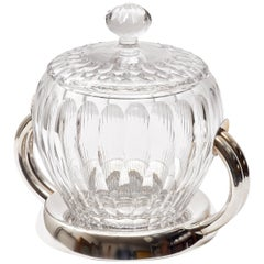 Italian Cut Crystal and Silver Plate Modernist Bowl and Cover, circa 1960