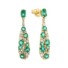 Italian Dangle Emerald Diamond Cocktail Yellow 18K Gold Earrings for Her