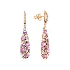Italian Dangle Pink Sapphire Diamond Cocktail Rose 18K Gold Earrings for Her