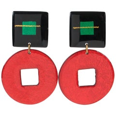 Italian Dangling Lucite Clip on Earrings Red and Black Glitter Pattern