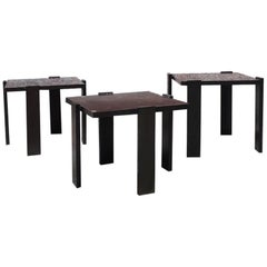 Italian Dark Brown Color Lacquered Wood Coffee Tables, 1970s