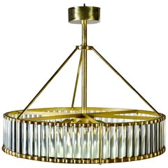 Italian Deco Style Fixture with Polished Brass and Glass Rod Frame