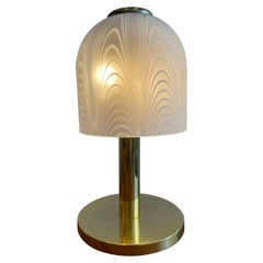 Italian Deco Table Lamp in Glass and Brass