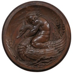 Italian Decorative Wall Plaque Carved with Putto & Water Fowl Early 19th Century