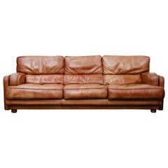 Italian Deep Seated Waterfowl Feather and Leather Sofa by Natuzzi, circa 1970s