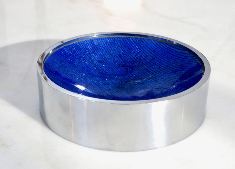 Italian Del Campo Enameled Vide Poche Dish with Nickel Chrome Frame For Sale 3