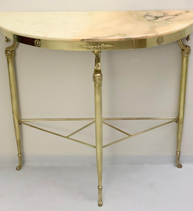 Italian demilune pink marble console tables, 1950s.