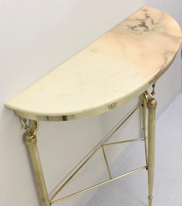 Brass Italian Demilune Pink Marble Console Tables, 1950s For Sale