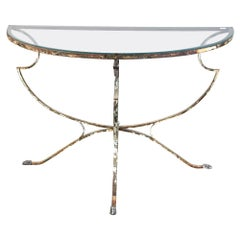 Italian Demilune Swan Design Glass Table with Wrought Iron Painted Base