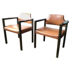 Italian Design 1961 Poltronova Pair Wooden Green Armchairs by Umberto Brandigi