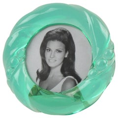 Italian Design 1970s Aqua Green Lucite Picture Photo Frame