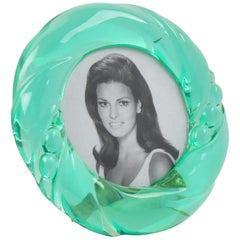 Italian Design 1970s Aqua Green Lucite Round Picture Photo Frame
