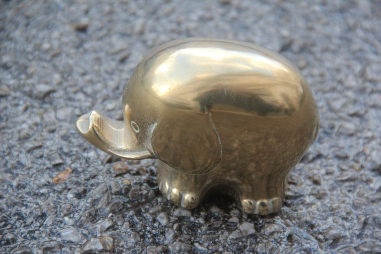 Mid-Century Modern Italian Design 1970s Gold Color Brass Elephant Sculpture For Sale