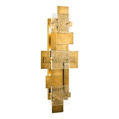 Italian Design and Brutalist Style Large Brass and Glass Wall Light