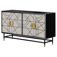 Italian Design and Memphis Style Black and White Sideboard