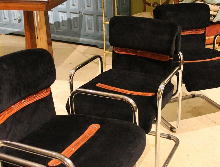 Italian Design Armchairs Faleschini Mariani Tubular Chrome and Black Upholster For Sale 5