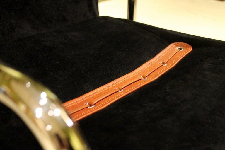 Italian Design Armchairs Faleschini Mariani Tubular Chrome and Black Upholster For Sale 6
