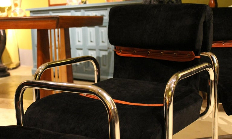 Italian Design Armchairs Faleschini Mariani Tubular Chrome and Black Upholster For Sale 7