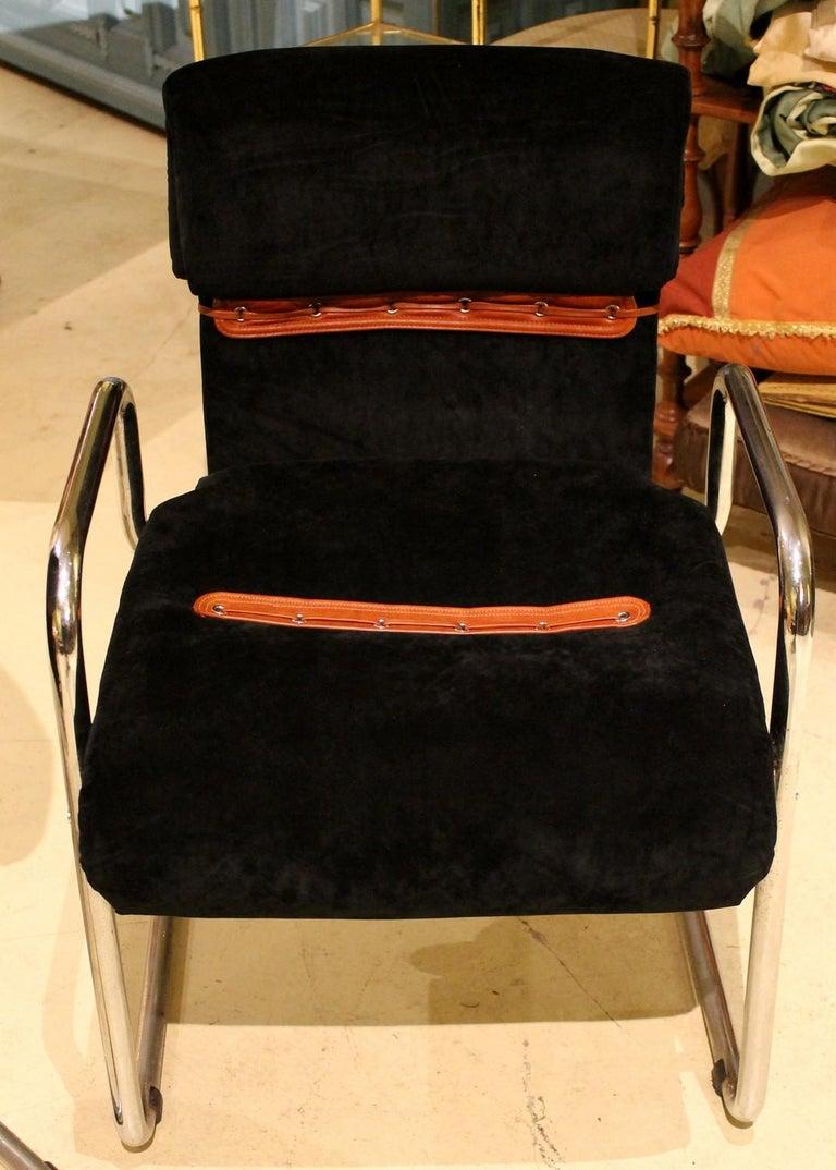 Italian Design Armchairs Faleschini Mariani Tubular Chrome and Black Upholster For Sale 8