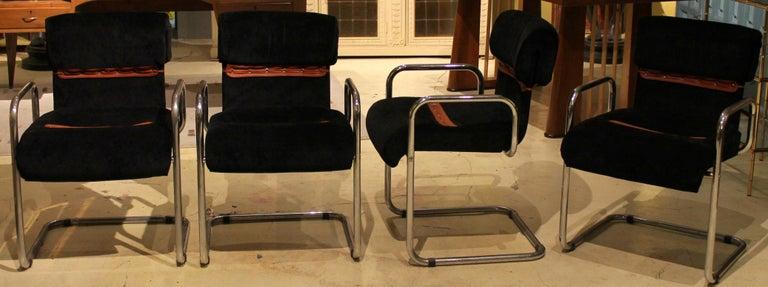 Italian Design Armchairs Faleschini Mariani Tubular Chrome and Black Upholster For Sale 9