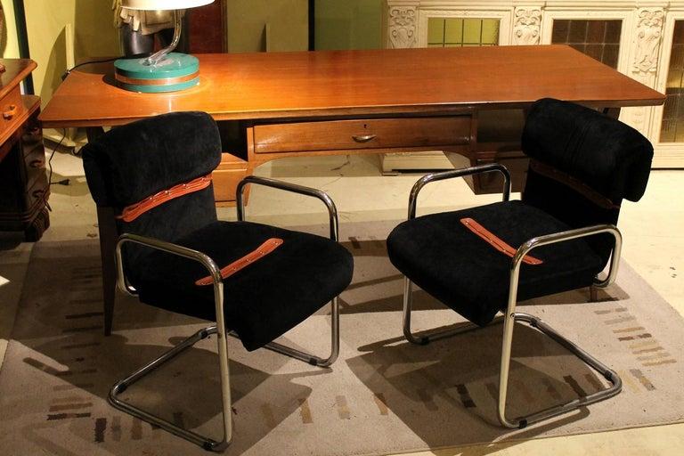 Modern Italian Design Armchairs Faleschini Mariani Tubular Chrome and Black Upholster For Sale