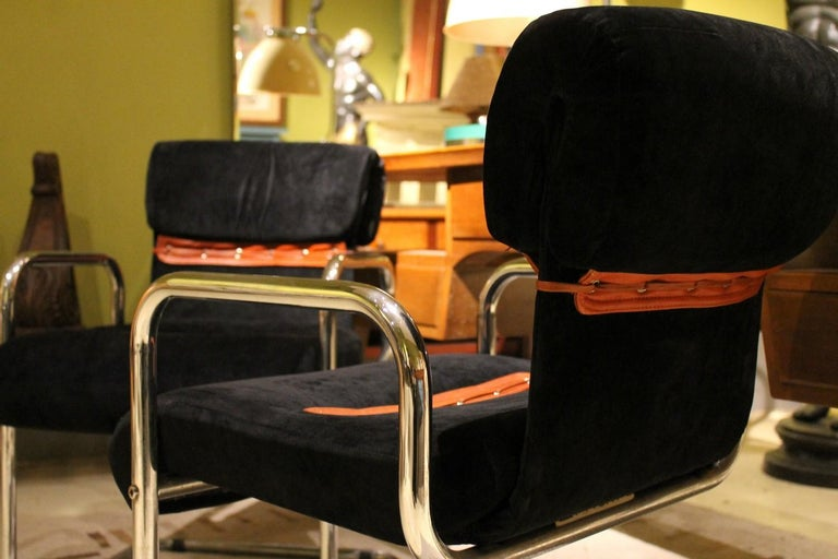 Italian Design Armchairs Faleschini Mariani Tubular Chrome and Black Upholster In Good Condition For Sale In Firenze, IT