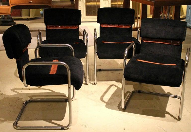 20th Century Italian Design Armchairs Faleschini Mariani Tubular Chrome and Black Upholster For Sale