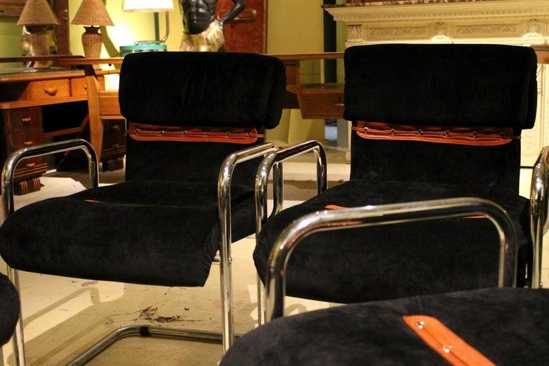 Leather Italian Design Armchairs Faleschini Mariani Tubular Chrome and Black Upholster For Sale
