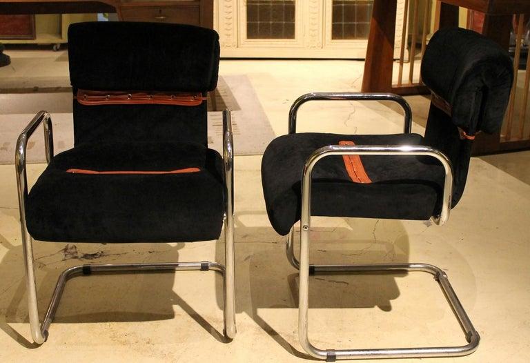 Italian Design Armchairs Faleschini Mariani Tubular Chrome and Black Upholster For Sale 1