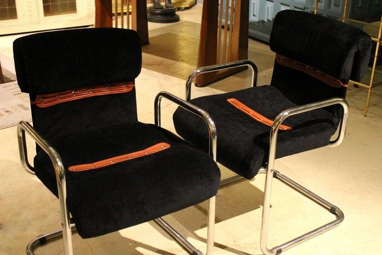 Italian Design Armchairs Faleschini Mariani Tubular Chrome and Black Upholster For Sale 2