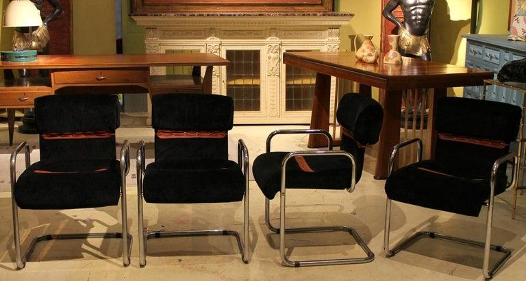 Italian Design Armchairs Faleschini Mariani Tubular Chrome and Black Upholster For Sale 3