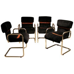 Italian Design Armchairs Faleschini Mariani Tubular Chrome and Black Upholster