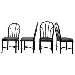 Italian Design Black Lacquered Wooden Bamboo Effect Set of Four Chairs