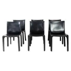 Italian Design Classic Cab 412 Chairs by Mario Bellini, Set of 6