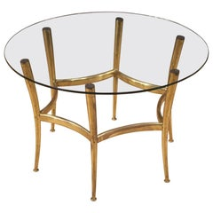 Italian Design Coffee Table in Golden Brass with Glass Top