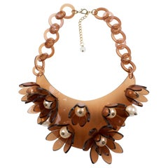 Italian Design Copper Lucite Bib Necklace Flower and Pearl