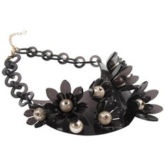 Italian Design Dark Gray Lucite Bib Necklace Flower and Pearl
